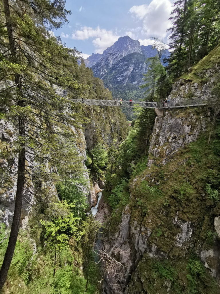 Der Blick aus der Leutaschklamm auf´s Karwendel